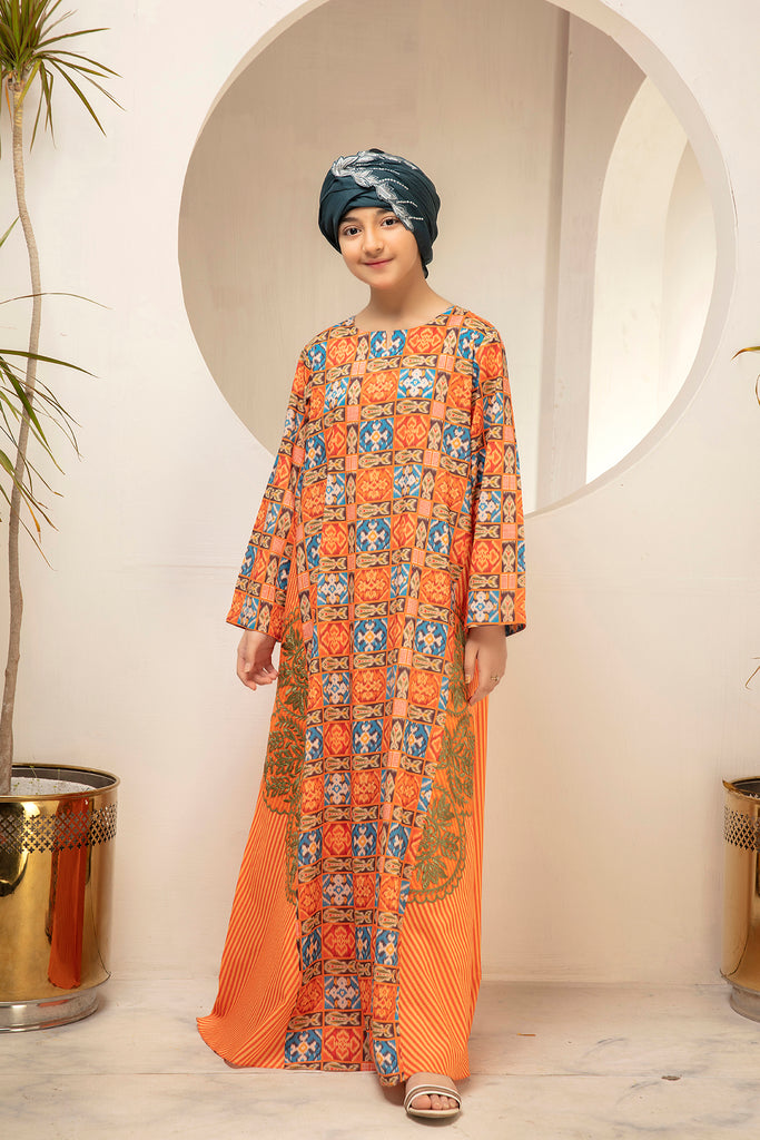 DS21-25-Digital Cambric Embroidered Stitched Jalabiya-1PC