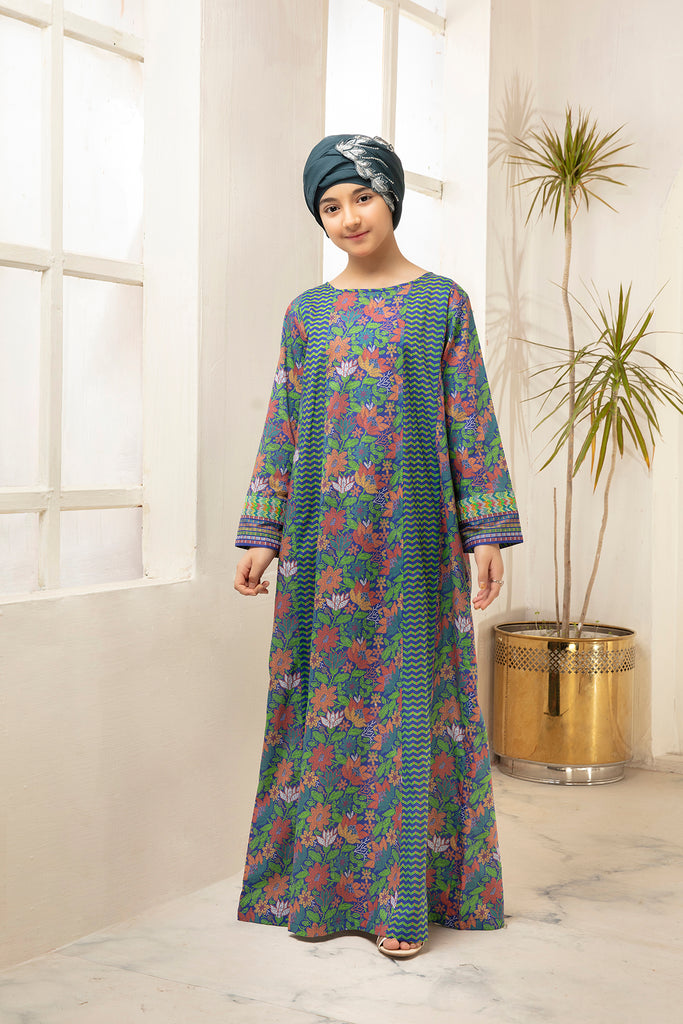 DS21-32-Digital Cambric Paneled Stitched Jalabiya-1PC
