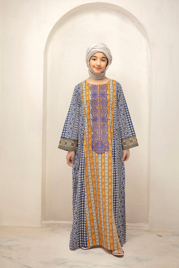 DS21-44-Digital Cambric Embroidered Stitched Jalabiya With Mask-1PC
