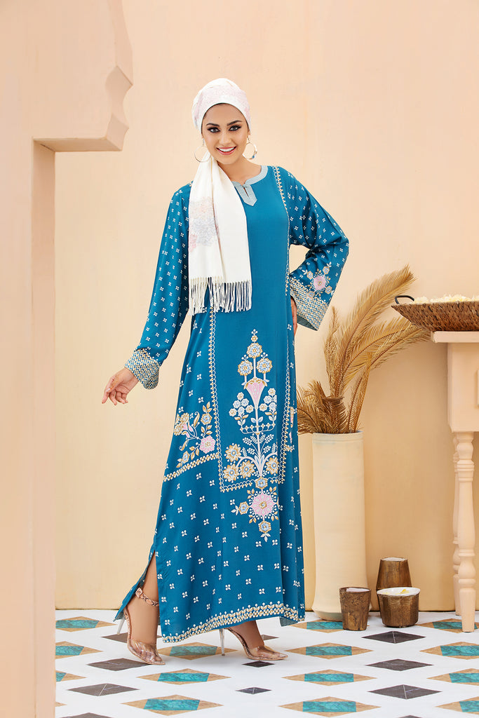 DSW20-02 Printed Stitched Jalabiya – 1PC