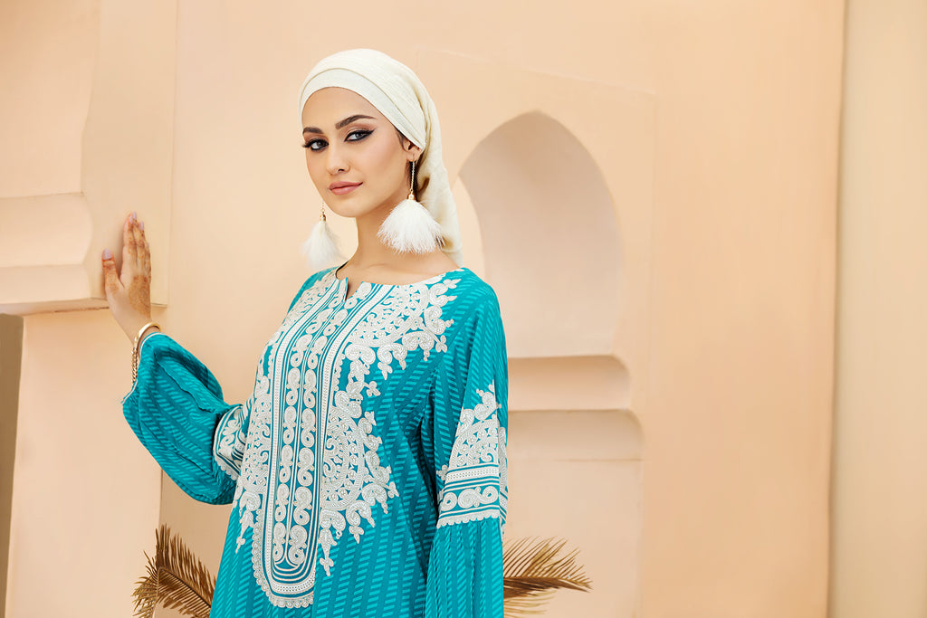 DSW20-09 Printed Stitched Jalabiya – 1PC