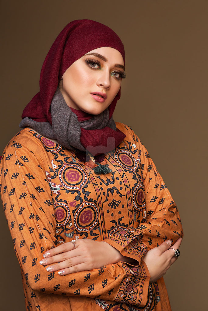 DW19-10 Orange Printed Stitched Jalabiya - 1PC - Nishat Linen UAE