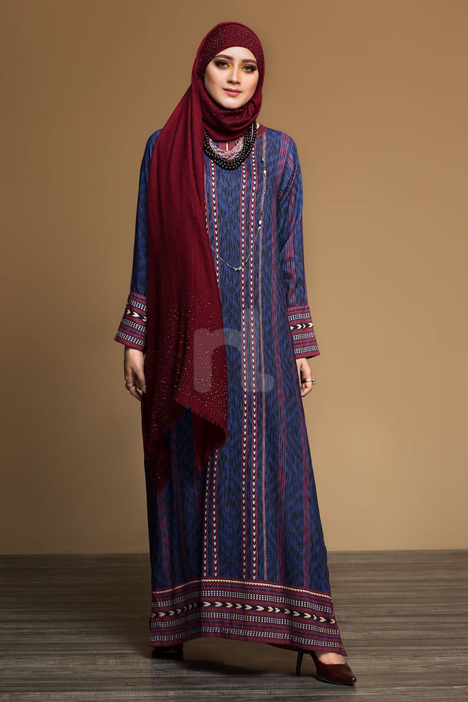 DW19-21 Blue Printed Stitched Jalabiya - 1PC - Nishat Linen UAE