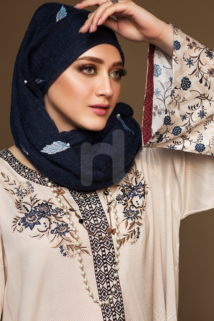 DW19-29 Grey Printed Embroidered Stitched Jalabiya – 1PC - Nishat Linen UAE