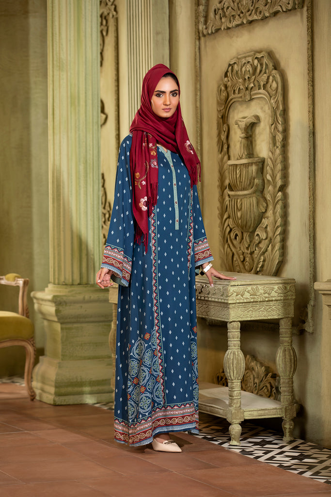 DW20-05 Digital Printed Linen Stitched Jalabiya with Mask - 1PC