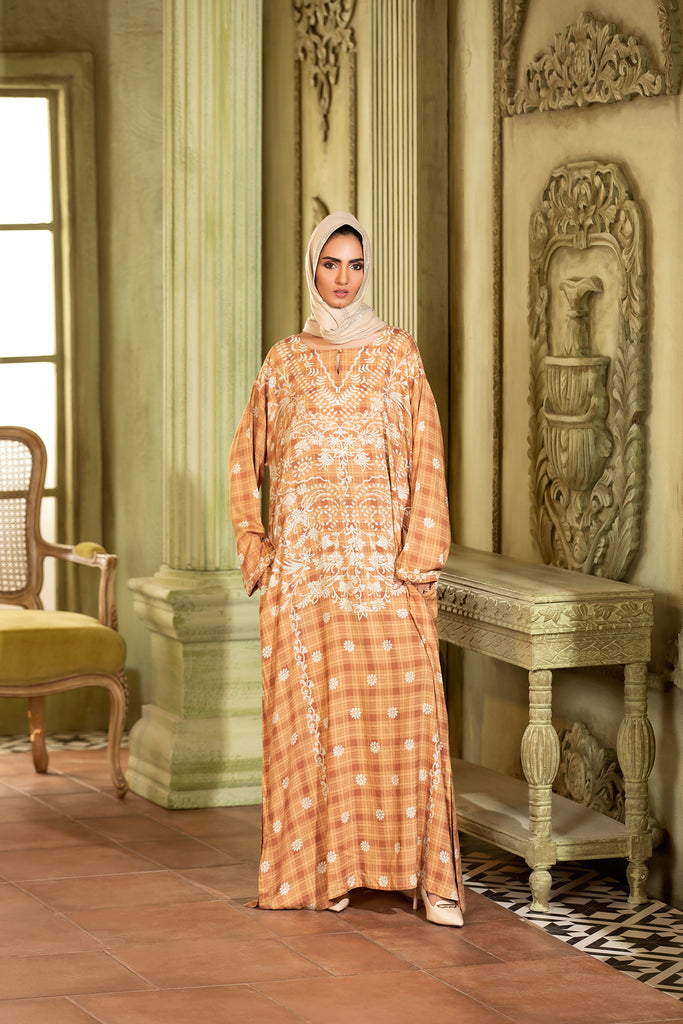 DW20-12 Digital Printed Linen Stitched Jalabiya with Mask – 1PC