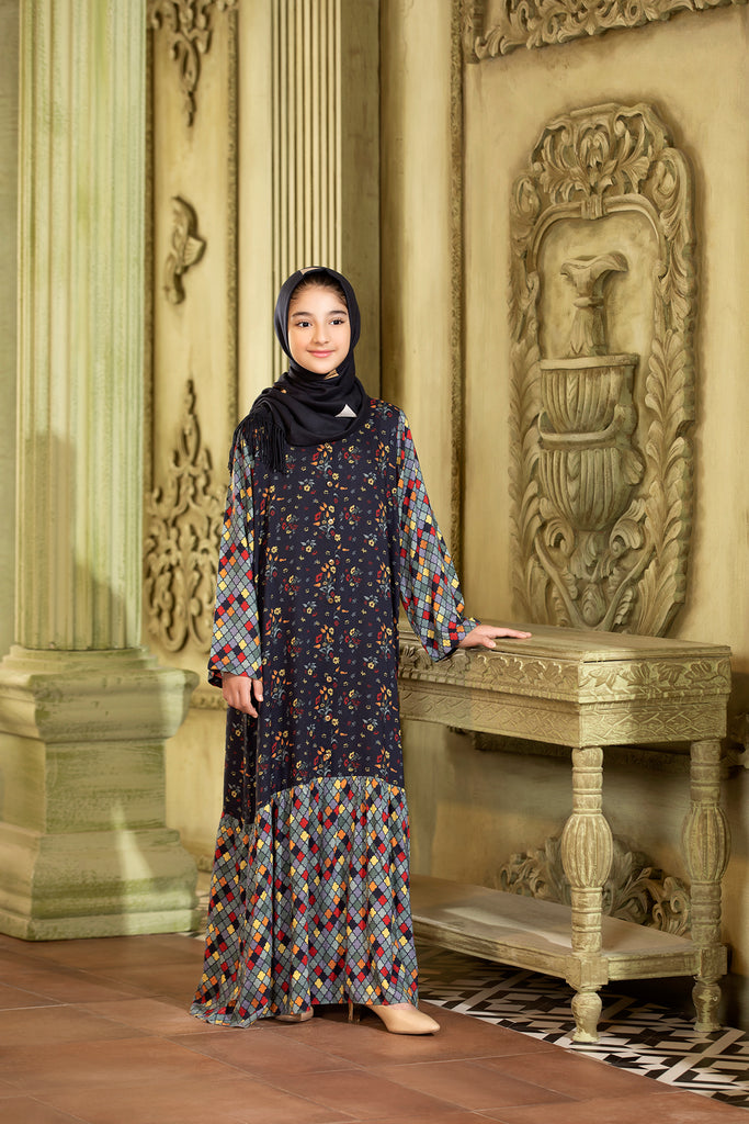 DW20-26 Printed Stitched Jalabiya for Kids - 1PC