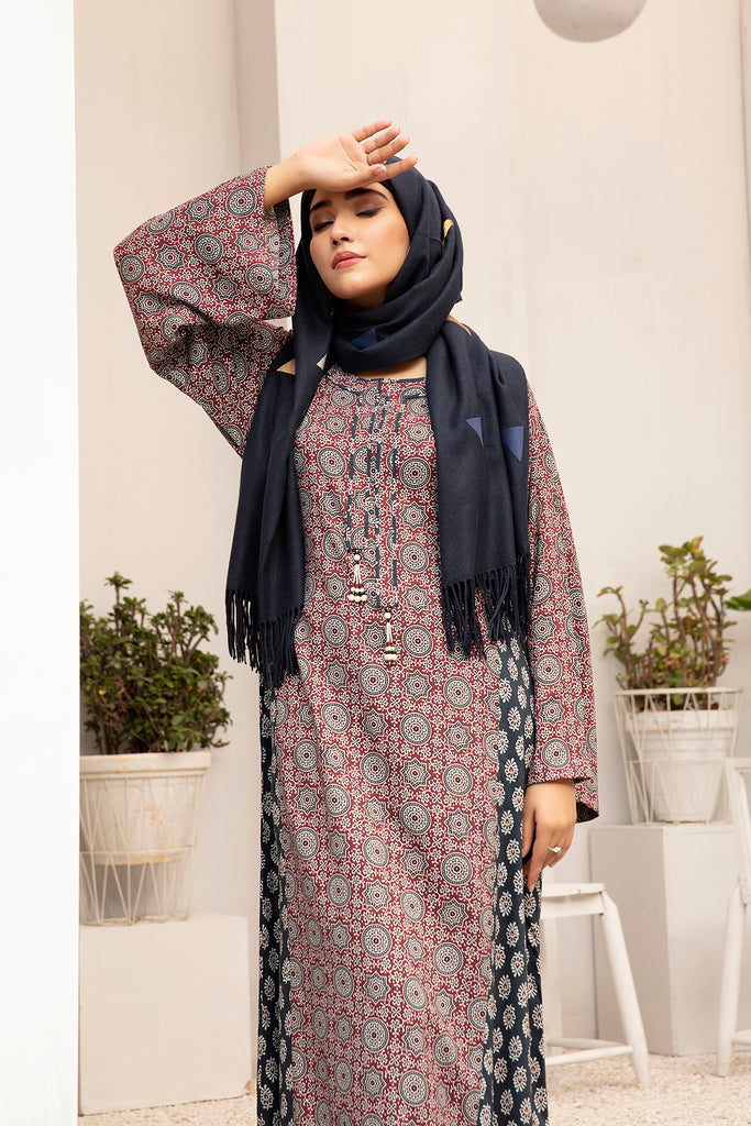 DW20-36 Digital Printed Linen Stitched Jalabiya with Mask – 1PC