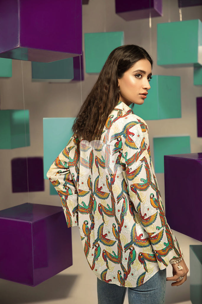 FS19-26 White Digital Printed Stitched Micro Modal Fusion Top - 1PC - Nishat Linen UAE