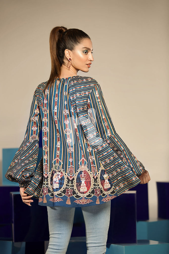 FS19-33 Blue Digital Printed Stitched Micro Modal Fusion Top - 1PC - Nishat Linen UAE