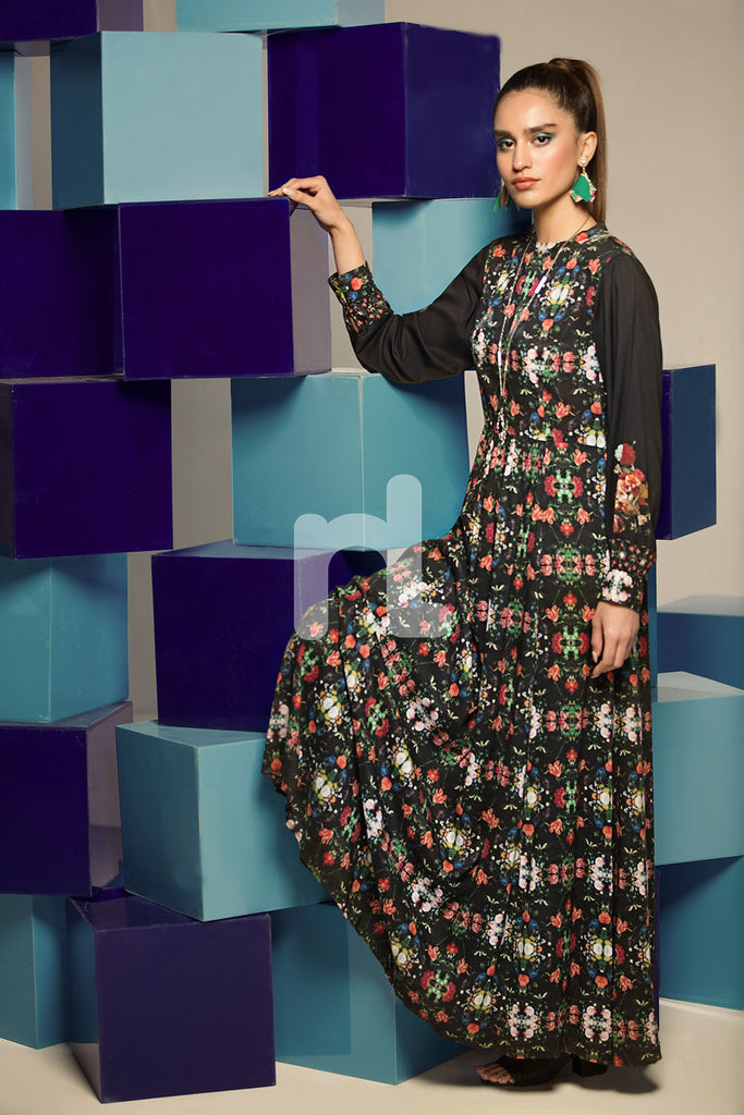 FS19-34 Blue Digital Printed Stitched Micro Modal Long Fusion Dress - 1PC - Nishat Linen UAE
