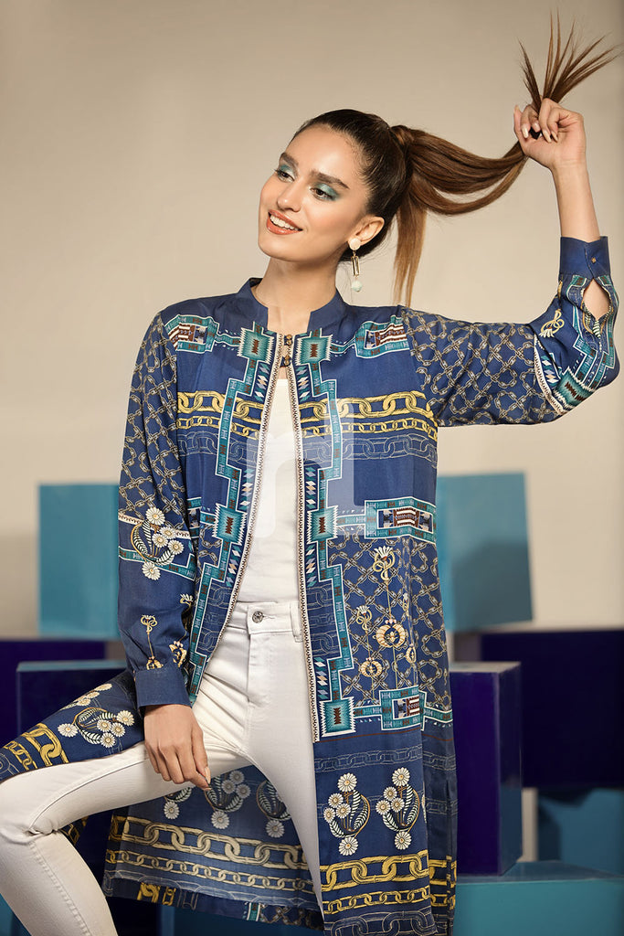 FS19-37 Blue Digital Printed Stitched Micro Modal Fusion Jacket - 1PC - Nishat Linen UAE