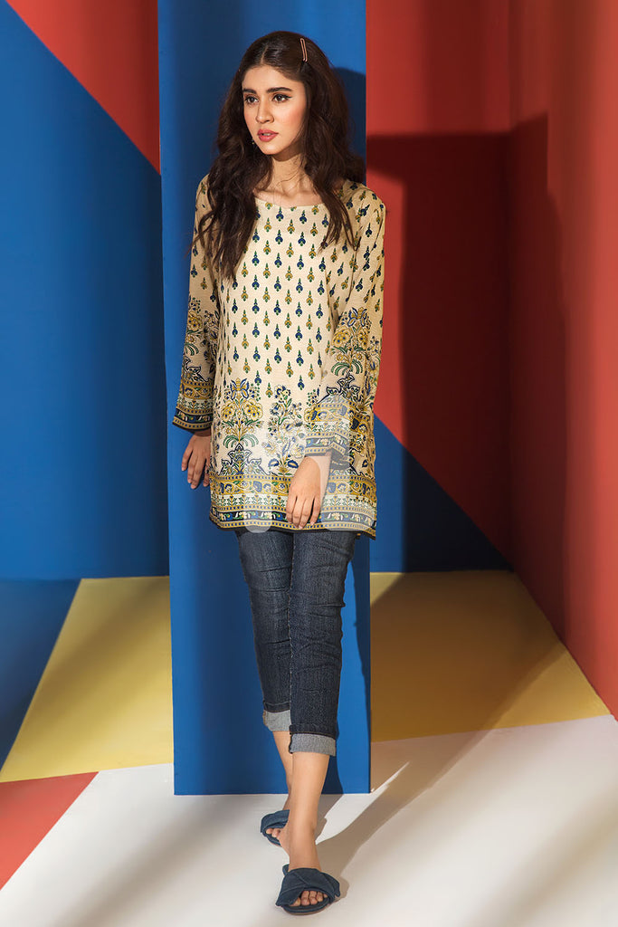 FS19-40 Yellow Printed Stitched Micro Modal Fusion Top - 1PC - Nishat Linen UAE