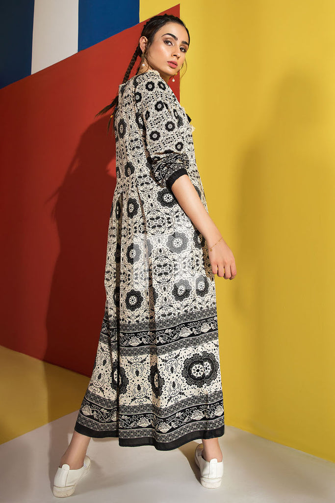FS19-45 Off White Printed Stitched Micro Modal Long Fusion Dress - 1PC - Nishat Linen UAE