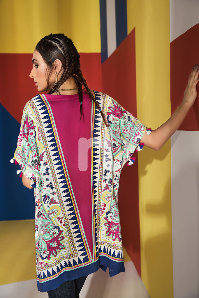 FS19-47 Pink Printed Stitched Micro Modal Fusion Jacket - 1PC - Nishat Linen UAE