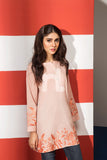 FS19-55 Peach Printed Embroidered Stitched Slub Lawn Fusion Top - 1PC - Nishat Linen UAE