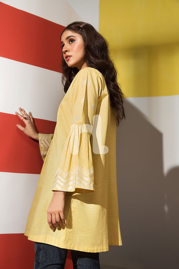 FS19-65 Yellow Dyed Embroidered Stitched Fusion Top - 1PC - Nishat Linen UAE