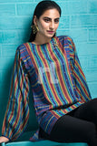 FS19-78 Blue Printed Stitched Fusion Top - 1PC - Nishat Linen UAE