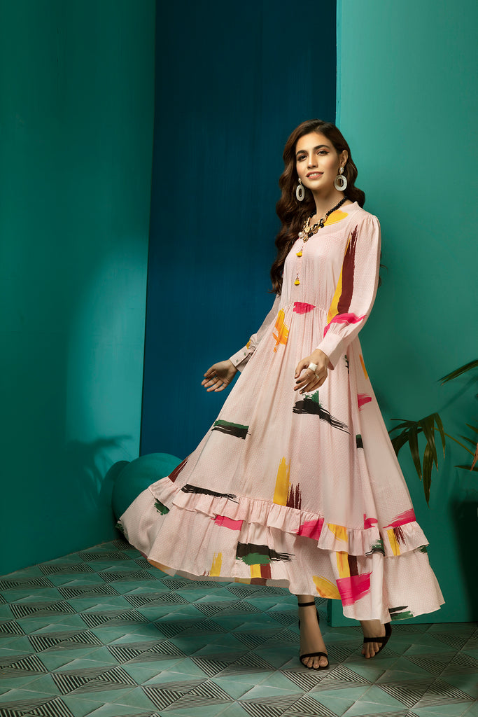 FS20-26 Digital Printed Micro Modal Long Fusion Dress - 1PC - Nishat Linen UAE