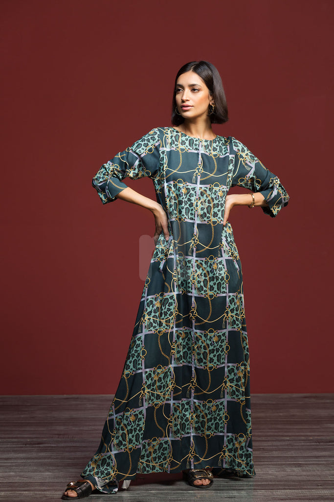 FW19-02 Green Printed Stitched Long Micro Modal Fusion Dress - 1PC - Nishat Linen UAE