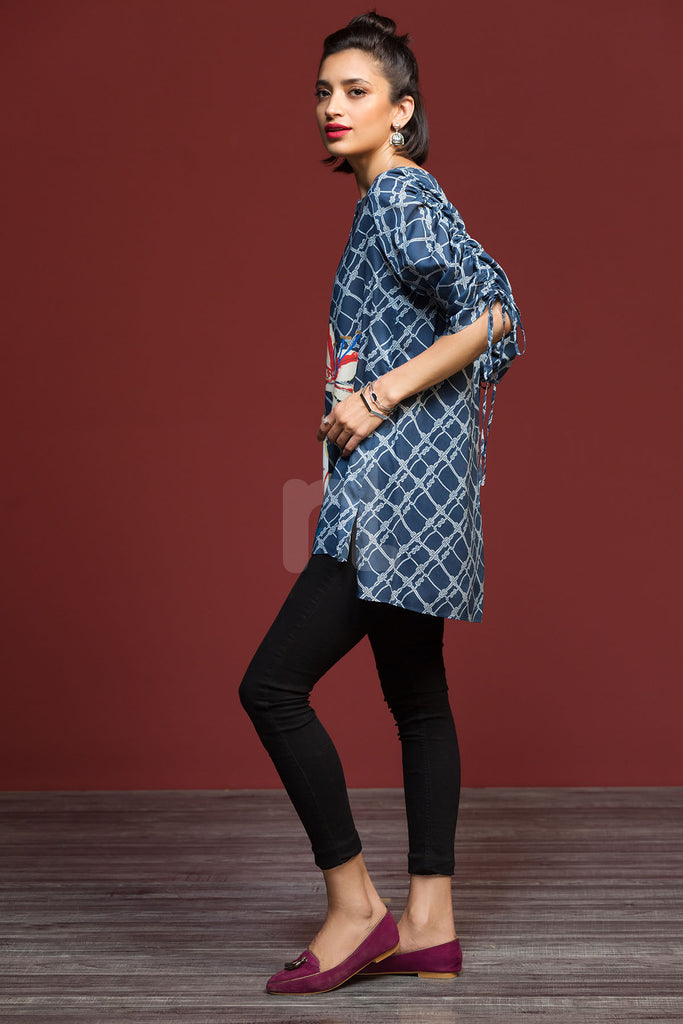 FW19-08 Blue Printed Stitched Micro Modal Fusion Top - 1PC - Nishat Linen UAE