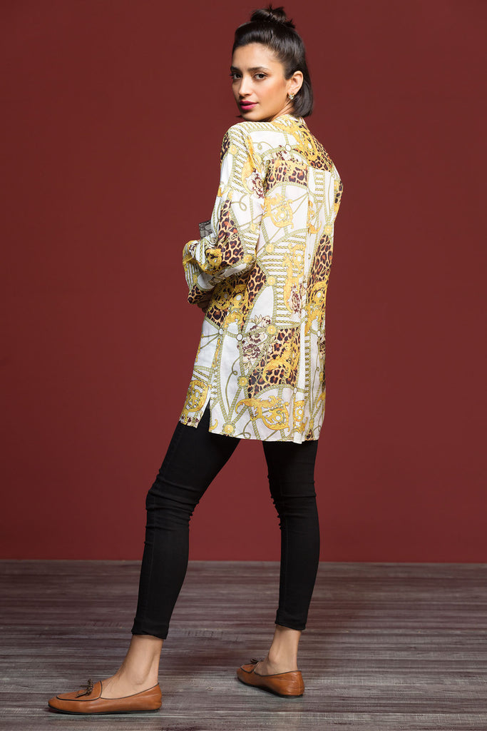 FW19-09 Yellow Digital Printed Stitched Micro Modal Fusion Top - 1PC - Nishat Linen UAE