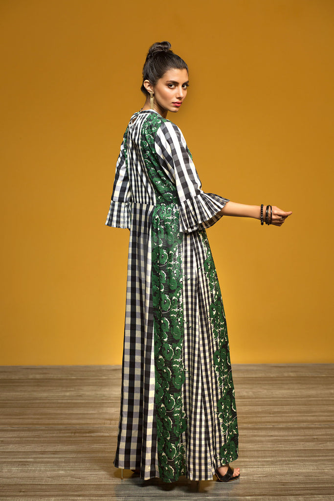 FW19-13 Green Printed Stitched Micro Modal Long Fusion Dress - 1PC - Nishat Linen UAE