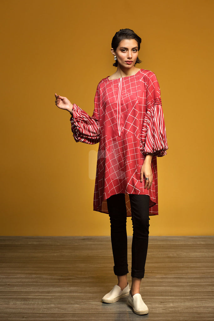 FW19-15 Red Printed Stitched Micro Modal Fusion Top - 1PC - Nishat Linen UAE