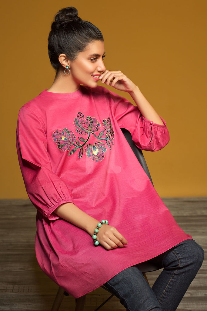 FW19-17 Pink Dyed Embroidered Stitched Karandi Fusion Top - 1PC - Nishat Linen UAE