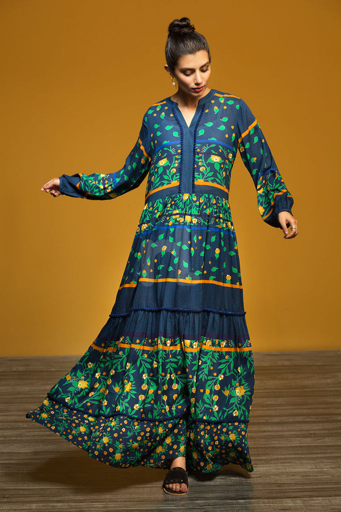 FW19-18 Blue Printed Stitched Long Fusion Dress - 1PC - Nishat Linen UAE