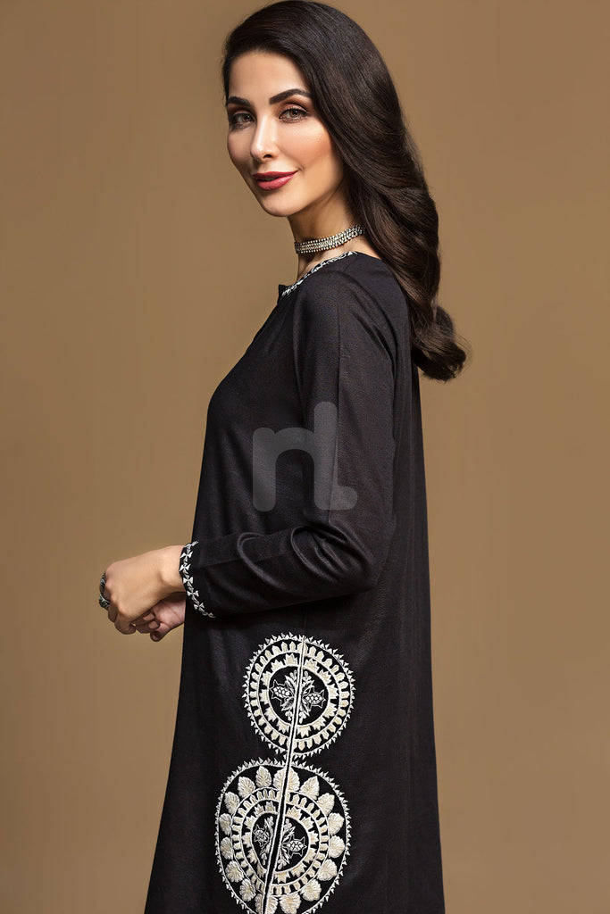 KF-536 Black Dyed Embroidered Stitched Formal Shirt – 1PC - Nishat Linen UAE