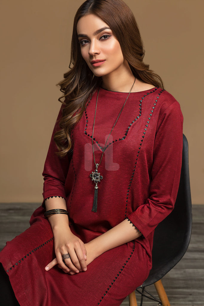 KF-548 Red Dyed Formal Stitched Shirt – 1PC - Nishat Linen UAE