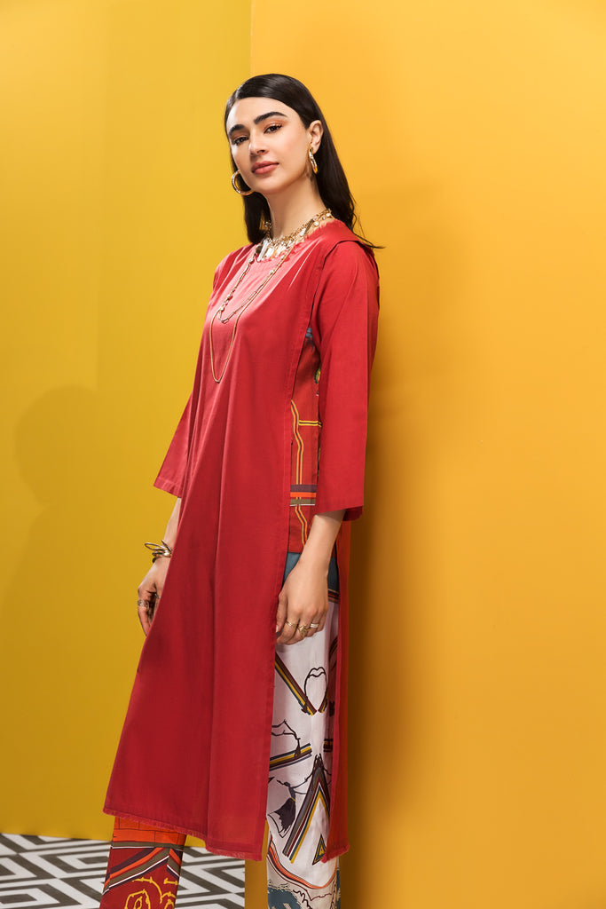 KF20-58 Dyed Stitched Fusion Lawn Shirt & Printed Trouser - 2PC - Nishat Linen UAE