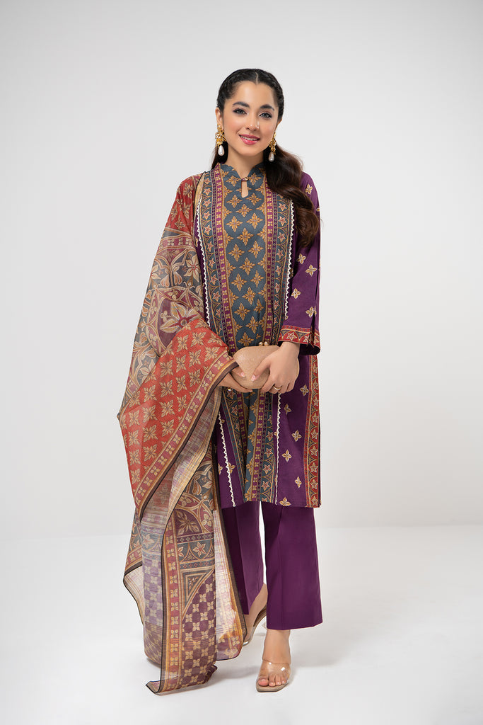 PDE21-08 3PC-Printed Shirt,Dyed Cambric Trouser With Banarsi Slub Dupatta