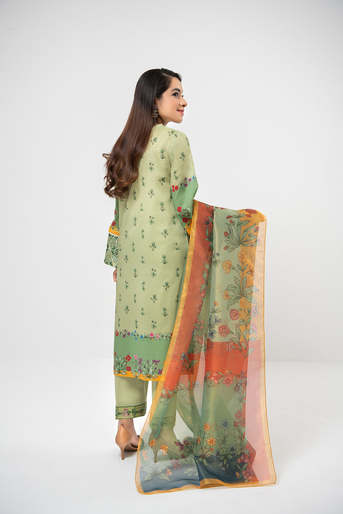 PDE21-09 3PC-Embroided Printed Shirt, Dyed Cambric Trouser With Gold Net Dupatta