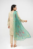 PDE21-11-Classic Embroidered Shirt with Embelishment, Chiffon Dupatta & Straight Trouser-3PC