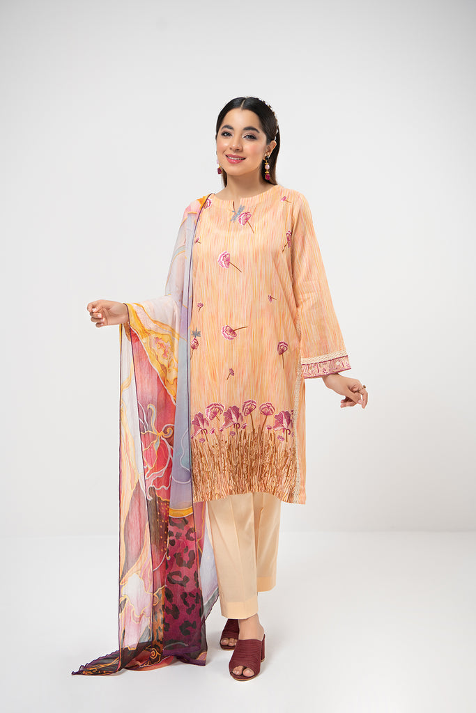 PDE21-12-Texture Printed Embroidered Shirt, Chiffon Dupatta & Straight Trouser-3PC