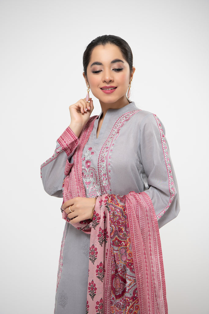 PDE21-13-Classic Embroidered Shirt, Printed Voil Dupatta & Straight Trouser-3PC
