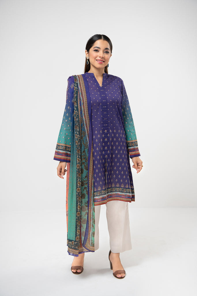 PDE21-16-Front Placket Embellished Classic Shirt with Chiffon Duaptta-2PC
