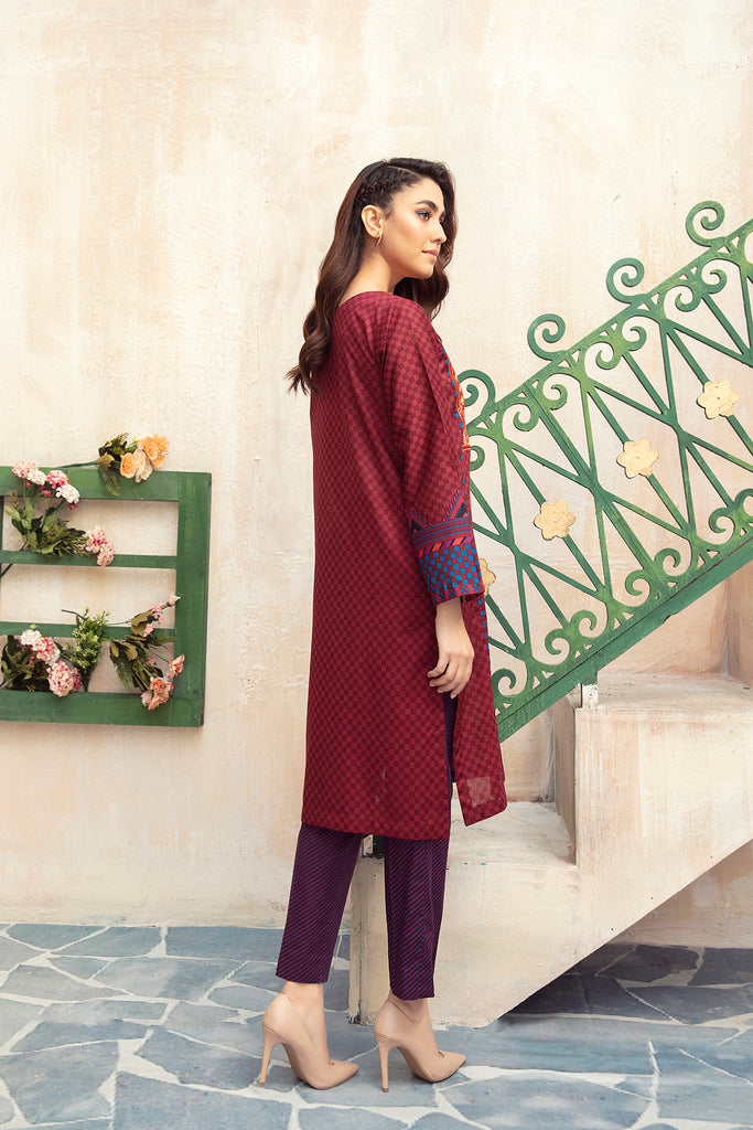 PDS21-14- Embroidered Printed Stitched Lawn Shirt & Trouser - 2PC