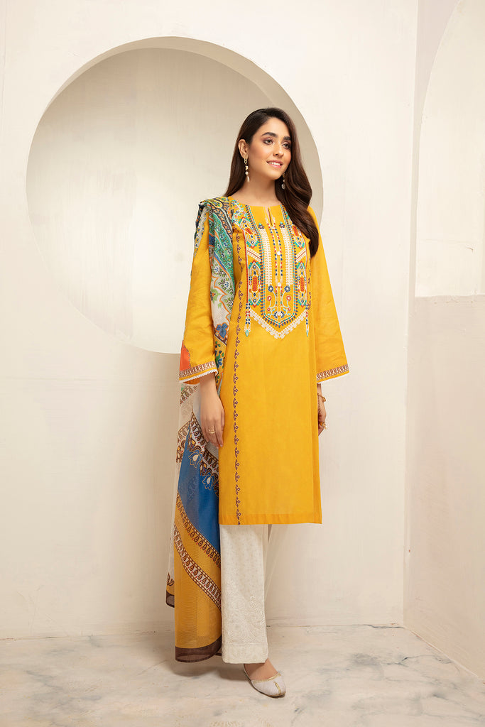 PDS21-17-Embroidered Printed Stitched Lawn Shirt, Trouser & Dupatta with Mask - 3PC