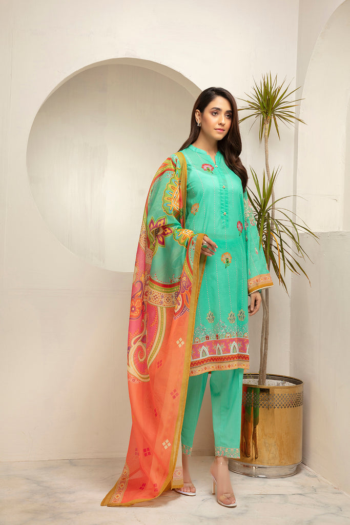 PDS21-22- Straight Classic Shirt with Button & Lace Detailing, Trouser & Dupatta with Mask - 3PC