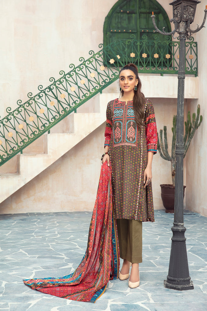 PDS21-23- Embroidered Printed Stitched Lawn Shirt & Dupatta - 2PC