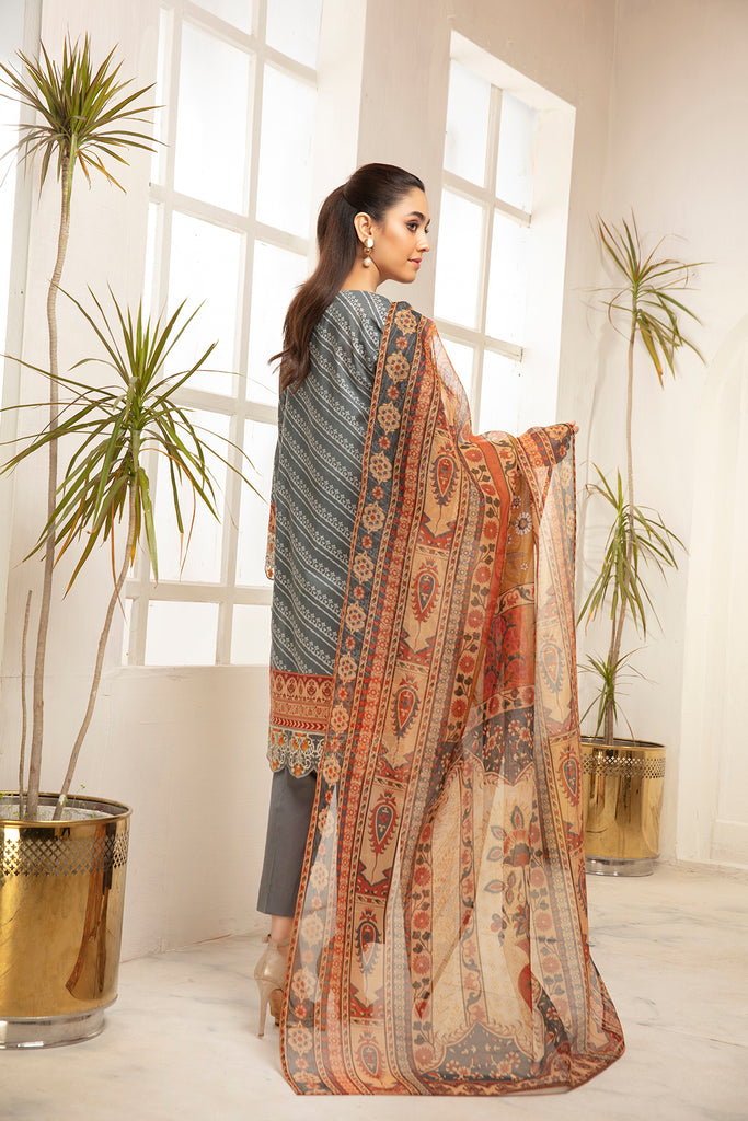 PDS21-27-Embroidered with Lace Detailing Classic Shirt, Trouser & Dupatta with Mask - 3PC