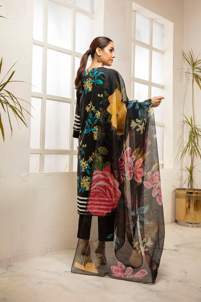 PDS21-29-Embroidered Printed Stitched Lawn Shirt, Trouser & Dupatta with Mask - 3PC
