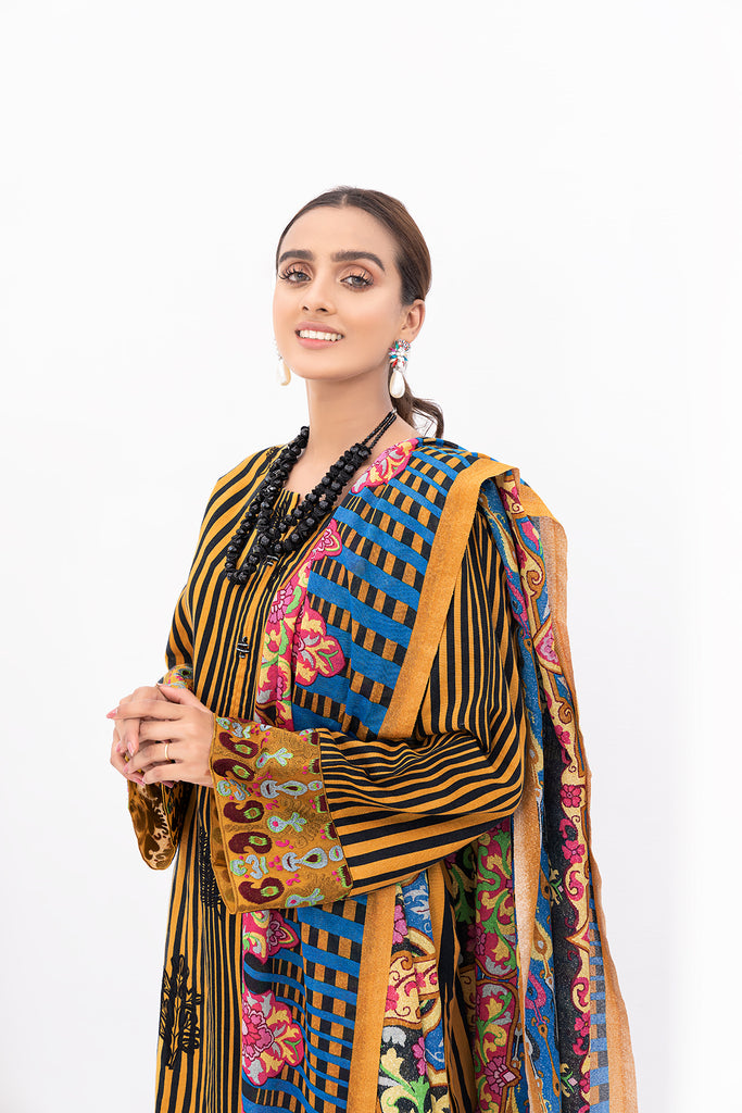 PDW20-15-Printed Embroidered Khaddar, Printed Karandi -3PC