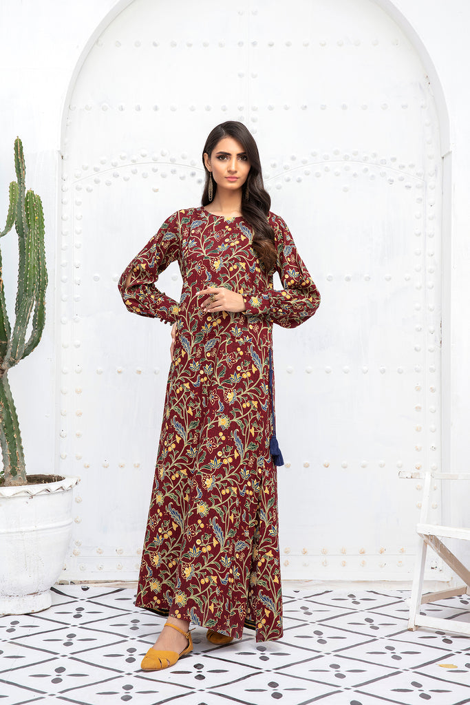 PDW20-49 Printed Stitched Linen Long Dress With Mask- 1PC
