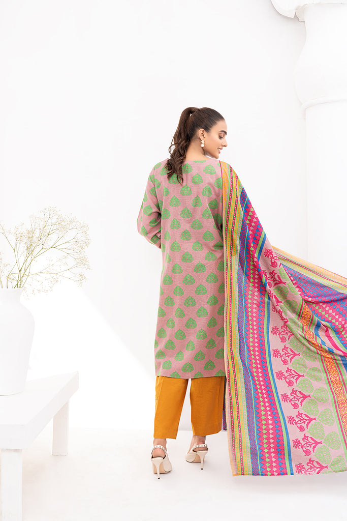 PDW20-52 Printed Stitched Linen Long Dress - 1PC
