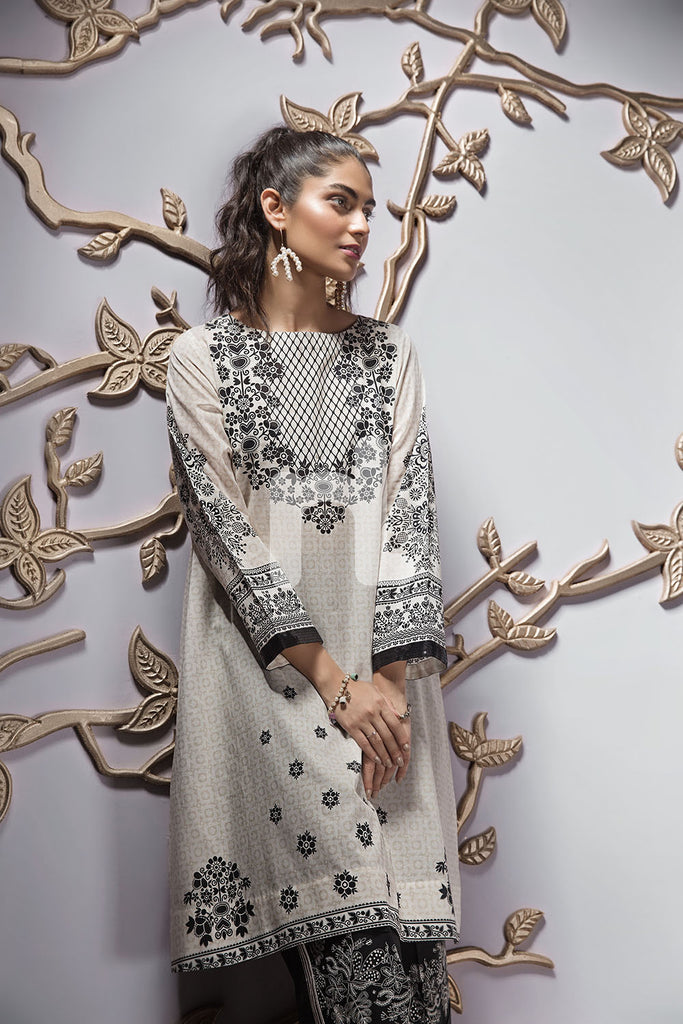 PE19-102 Off White Digital Printed Stitched Lawn Shirt - 1PC - Nishat Linen UAE