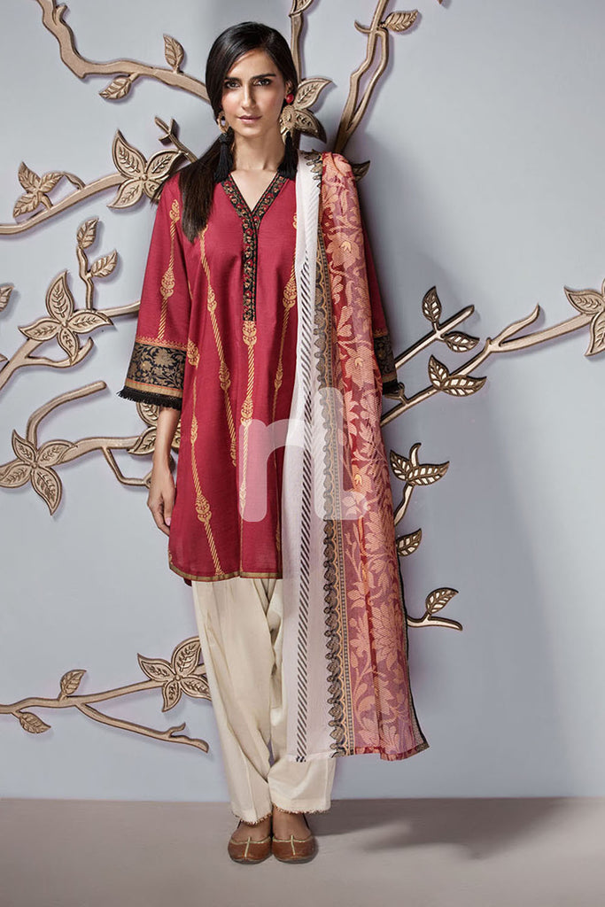 PE19-116 Maroon Printed Embroidered Stitched Slub Lawn Shirt & Printed Dupatta - 2PC - Nishat Linen UAE